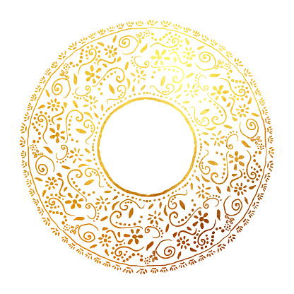 Boho Frame Background with Gold Colored Floral Lace Wreath. Floral Vector Design Element for Birthday, New Year, Christmas Card, Wedding Invitation.