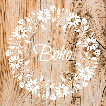 Boho Frame Background with White Flower Wreath Stencil On Shabby Wood Wall. Shabby Wooden Background. Grunge Texture, Painted Surface. Coastal Background.