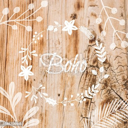 istock Boho Frame Background with White Flower Wreath Stencil On Shabby Wood Wall. Shabby Wooden Background. Grunge Texture, Painted Surface. Coastal Background. 1184706445