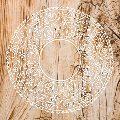 Boho Frame Background with White Lace Stencil On Shabby Wood Wall. Shabby Wooden Background. Grunge Texture, Painted Surface. Coastal Background.