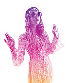 Engraving illustration of a Boho Hippie Woman spiritual leader with halftone pattern background