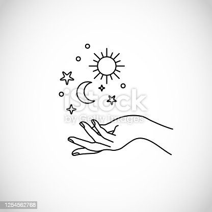 Boho, hipster vector art of hands with sun, moon and stars art