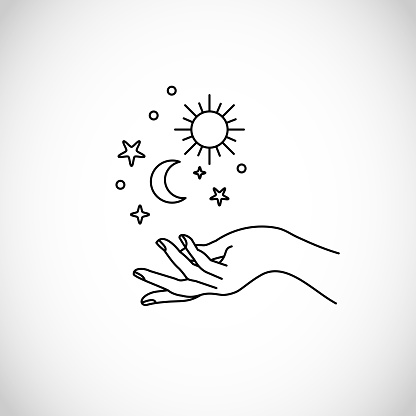 Boho, hipster vector art of hands with sun, moon and stars