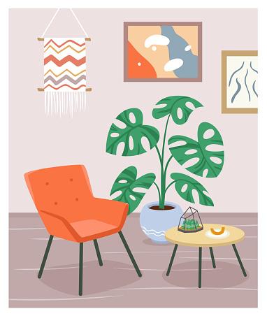 Boho house interior, modern armchair, furniture of living room, scandinavian cozy home