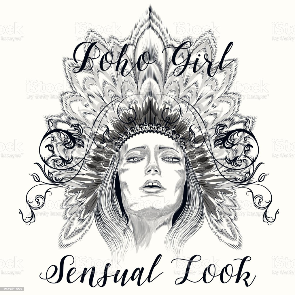 Boho Abbildung Mit Hand Gezeichnet Sinnliche Mädchen Kopfschmuck Aus ...