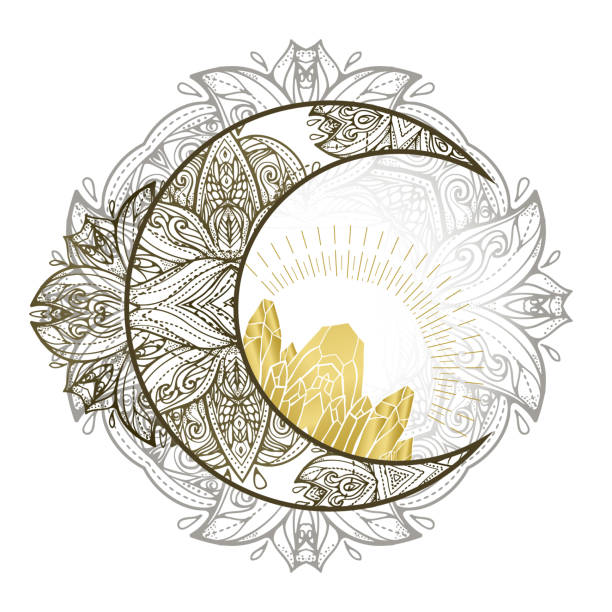 boho illustration with moon and crystals. tattoo art style. astrology and alchemy vibes. - moon stock illustrations, clip art, cartoons, & icons