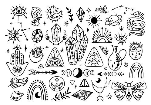 Boho line mystical symbols - crystals Moon butterfly set