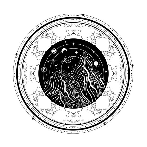boho-logo mit vektor-landschaft. tattoo-art-stil. symbol für ausflüge und reisen sucht-konzept. - landschaftstattoo stock-grafiken, -clipart, -cartoons und -symbole