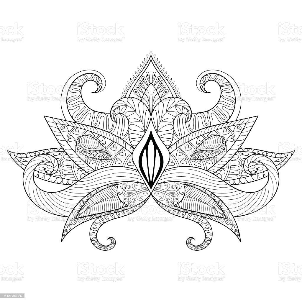 Boho ornamental lotus flower blackwork tattoo design stock vector boho ornamental lotus flower blackwork tattoo design royalty free boho ornamental lotus flower izmirmasajfo