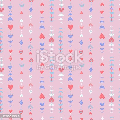 istock Boho seamless patternfor Valentine s day greeting cards. Modern flat art - print bohemian moon phases with hearts. Flat vector illustration. 1295519809