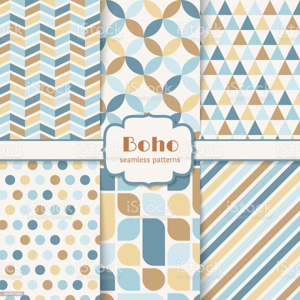 Boho seamless patterns set vector art illustration
