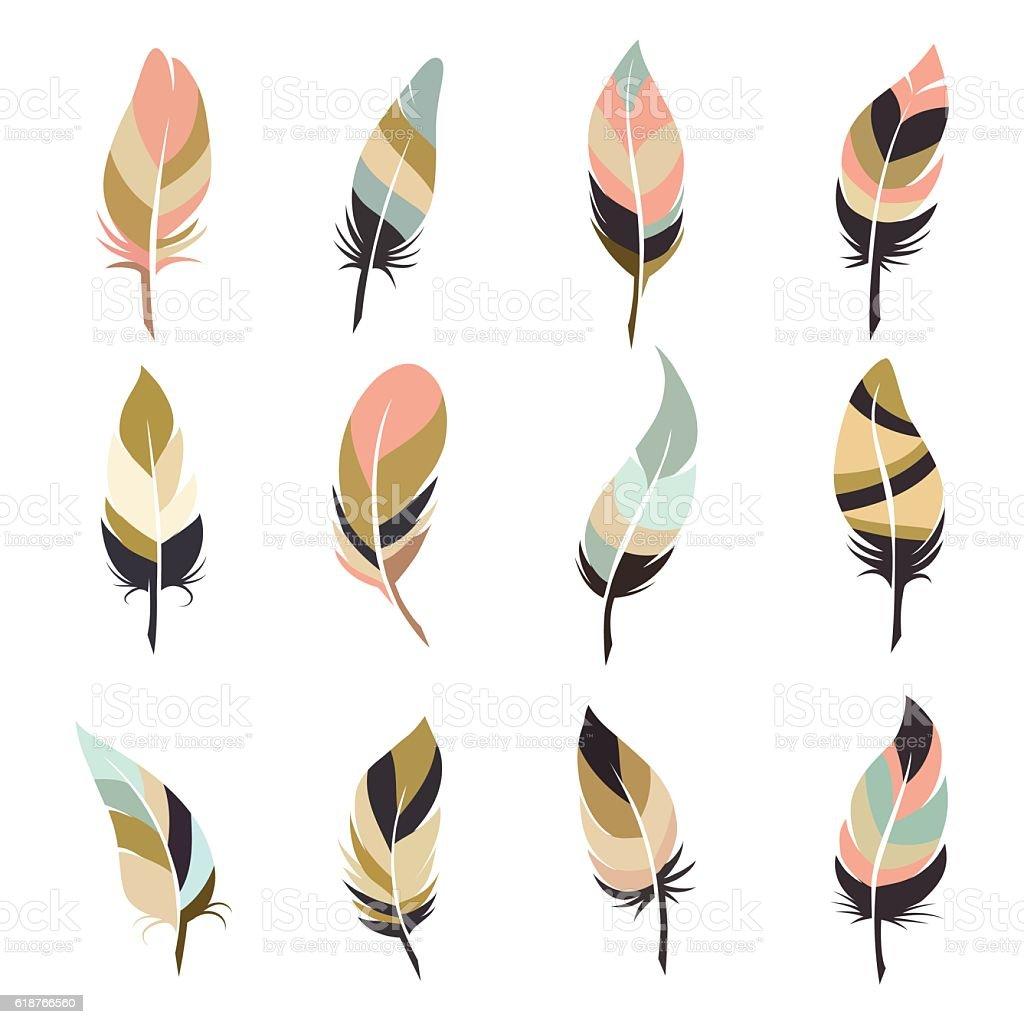 Boho style feather set vector art illustration