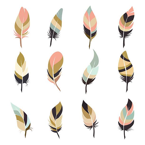 Boho style feather set Boho style feather set isolated on white background. Vector illustration chicken bird stock illustrations