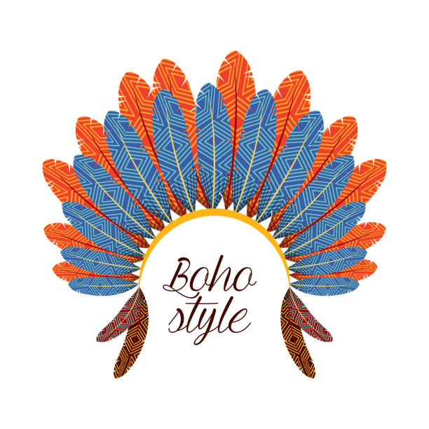 boho style vector art illustration