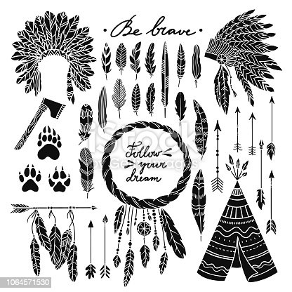 Boho style vector set with wigwam, indian headdress, arrows, feathers and dreamcatcher. Bohemian graphic elements on white background
