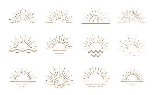 Boho sunrise logo, sun line art vector. Sunset stock vector logo design.