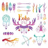 Hand drawn boho design elements set. Wild style labels with vintage arrows, feathers. Vector decoration, divider, frame boho symbols border design. Vintage decoration ornament ethnic boho symbols