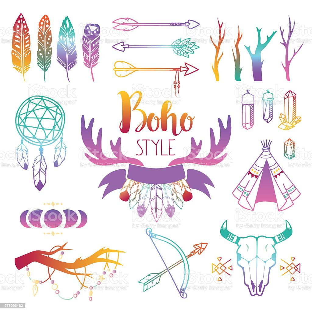 Boho symbols vector set. vector art illustration