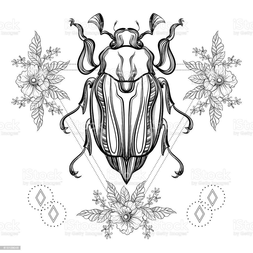 f15e31d9545f3 Boho tattoo. Blackwork Scarab beetle, royalty-free boho tattoo blackwork  scarab beetle stock