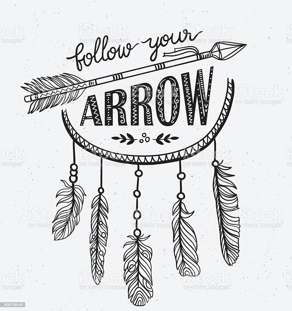 Boho template with inspirational quote lettering - Follow your arrow. - Illustration vectorielle