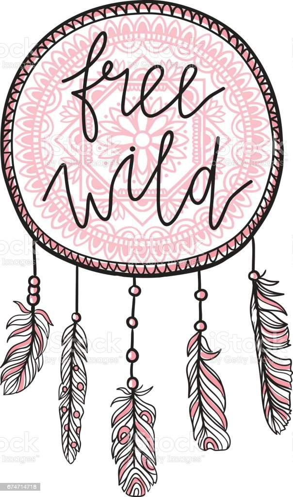 boho template with inspirational quote lettering free and wild