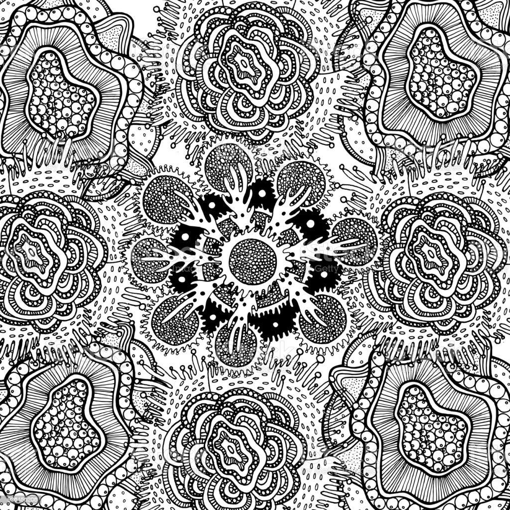 Boho Tribal Blumen Malvorlagen Für Erwachsene Doodle Cartoob ...
