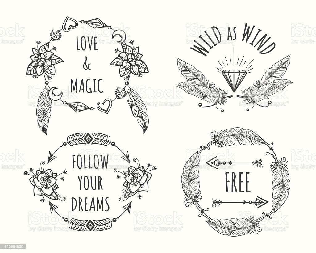 Boho tribal logo set with feathers vector art illustration