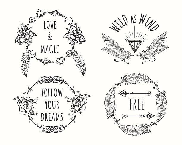 boho tribal logo set with feathers - bohemian fashion stock illustrations, clip art, cartoons, & icons