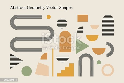 Vector abstract geometric elements and shapes in Boho style. Good for wall decoration, postcard or brochure cover design. Minimalist Mid century modern.