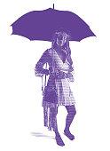 Engraving illustration of a Boho woman holding umbrella