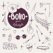 vector set of hand-drawn elements of style boho chic accessories and decorations