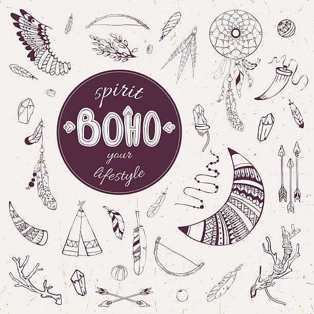 boho_spirit1 - zigeunerleben stock-grafiken, -clipart, -cartoons und -symbole
