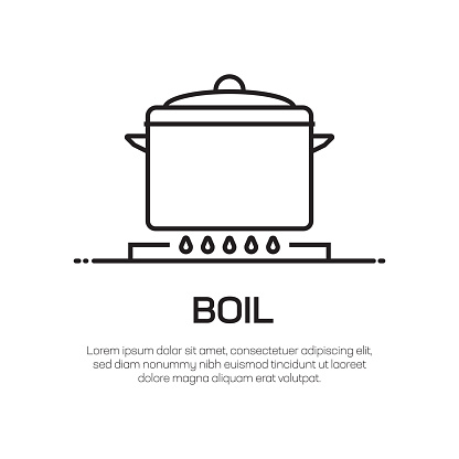Boil Vector Line Icon - Simple Thin Line Icon, Premium Quality Design Element