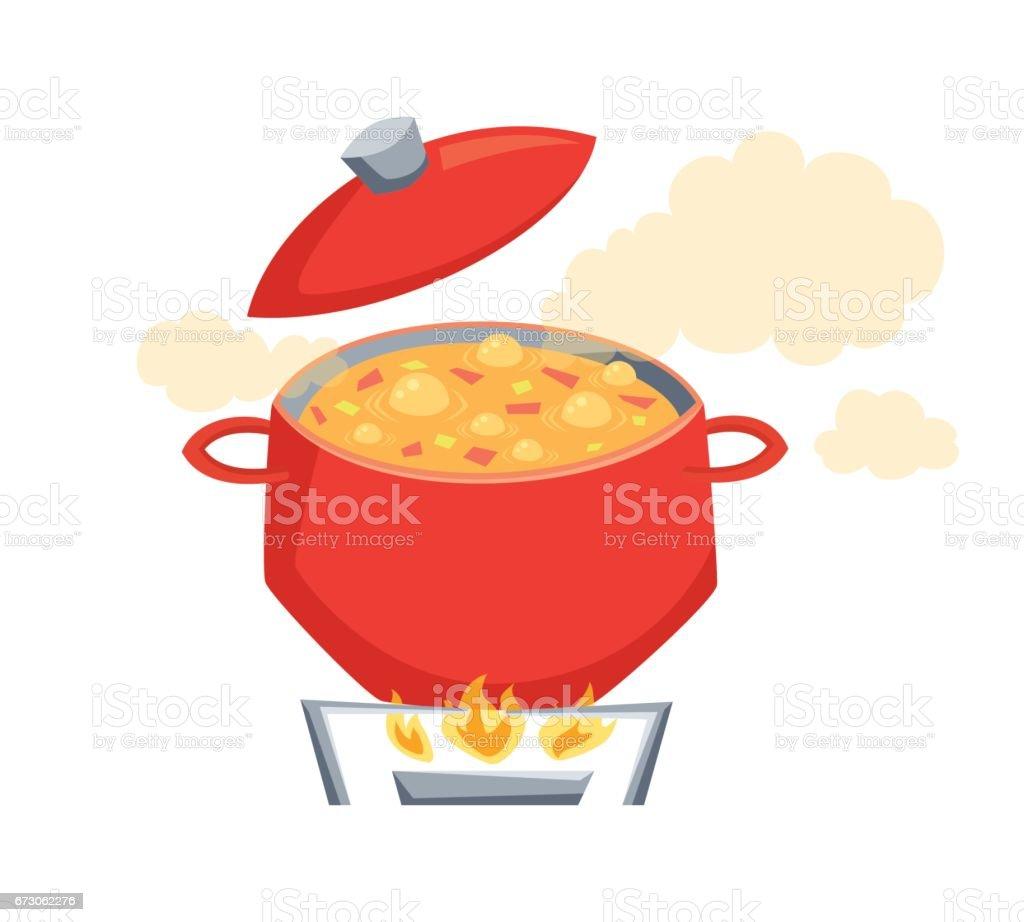 Boil vegatables soup vector art illustration