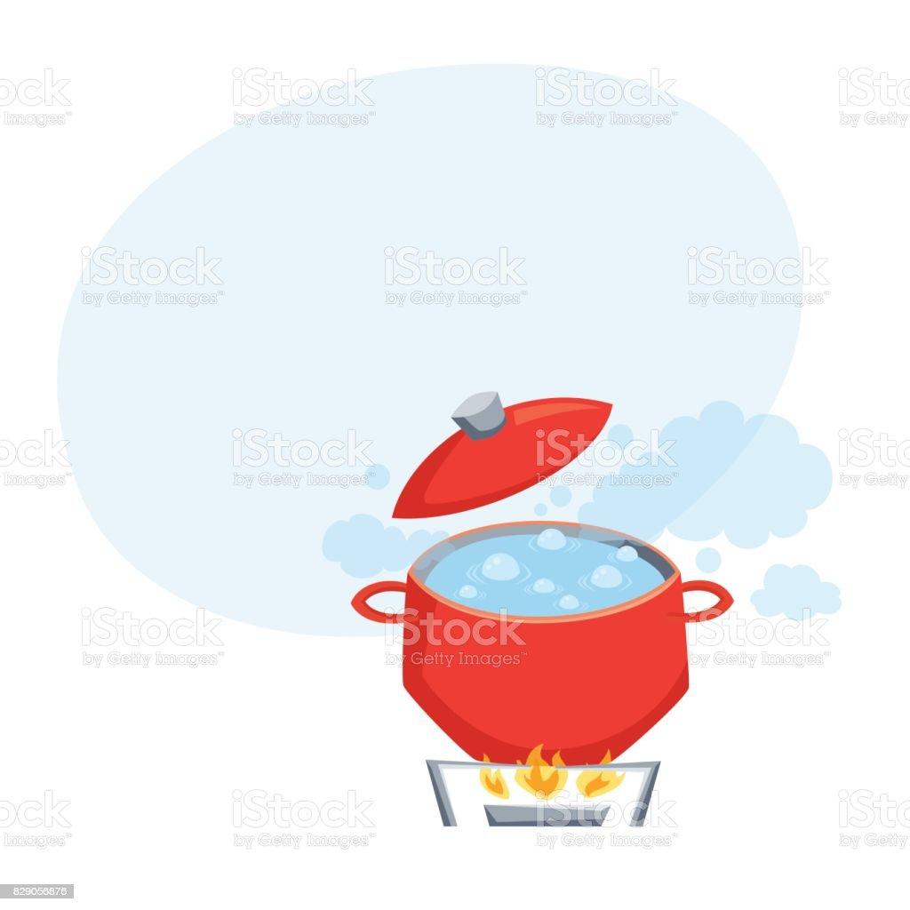 Boil water in pot vector art illustration