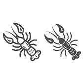 istock Boiled crayfish for beer festival line and solid icon, Oktoberfest concept, well-done crayfish sign on white background, Boiled Lobster icon in outline style for mobile, web design. Vector graphics. 1280989437