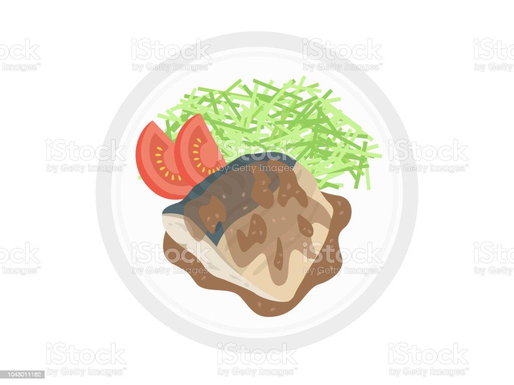 Boiled mackerel of miso vector art illustration