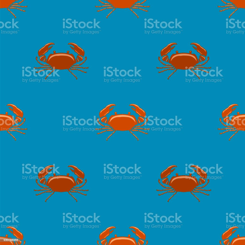 Boiled Red Crab with Giant Claws Seamless Pattern on Blue Background. Fresh Seafood Icon. Delicous Appetizer vector art illustration
