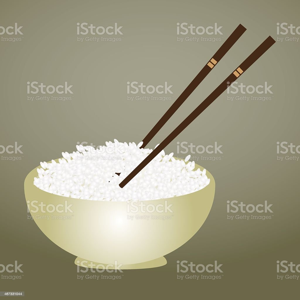 boiled rice in bowl with chopsticks eps10 vector art illustration