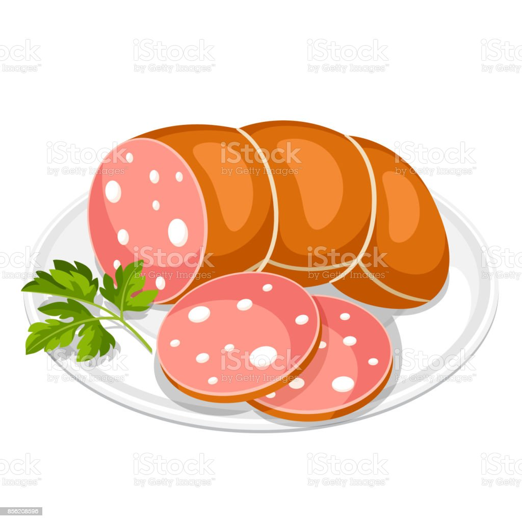 Boiled sausage slices with parsley leaf on white plate vector art illustration
