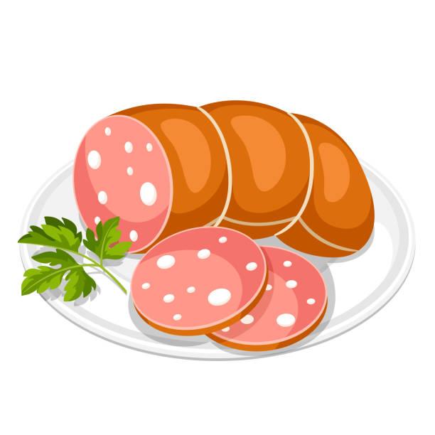 kochwurst-scheiben mit petersilie-blatt auf weißen teller - schweinebraten stock-grafiken, -clipart, -cartoons und -symbole