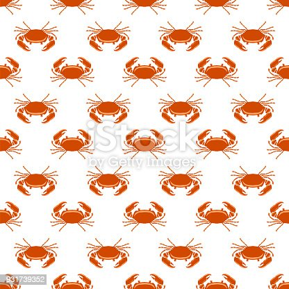 istock Boiled Sea Red Crab with Giant Claws Seamless Pattern. Fresh Seafood Icon. Delicous Appetizer 931739352