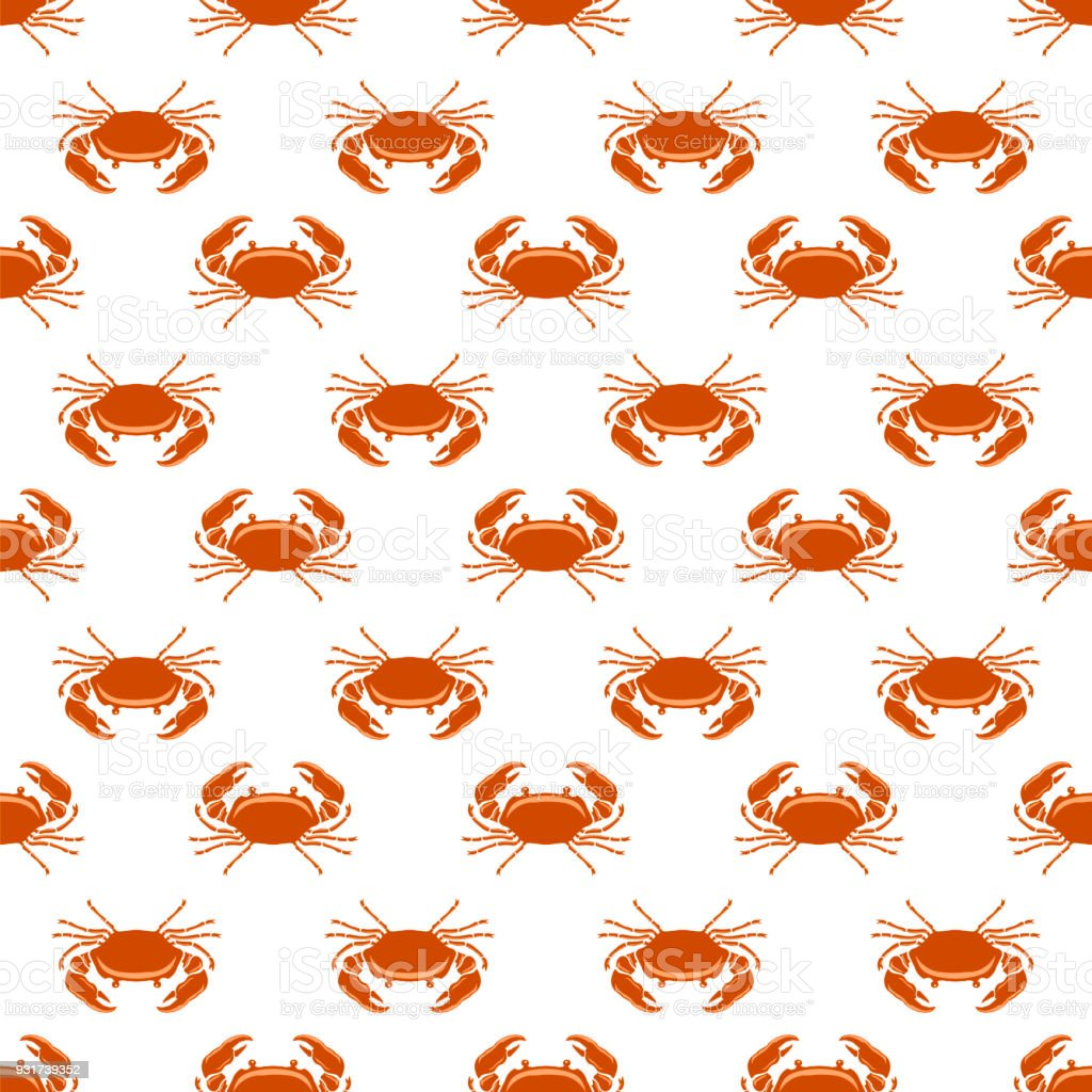Boiled Sea Red Crab with Giant Claws Seamless Pattern. Fresh Seafood Icon. Delicous Appetizer vector art illustration