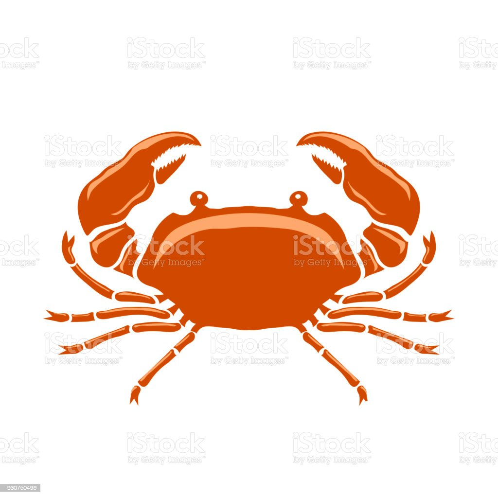 Boiled Sea Red Crab with Giant Claws vector art illustration