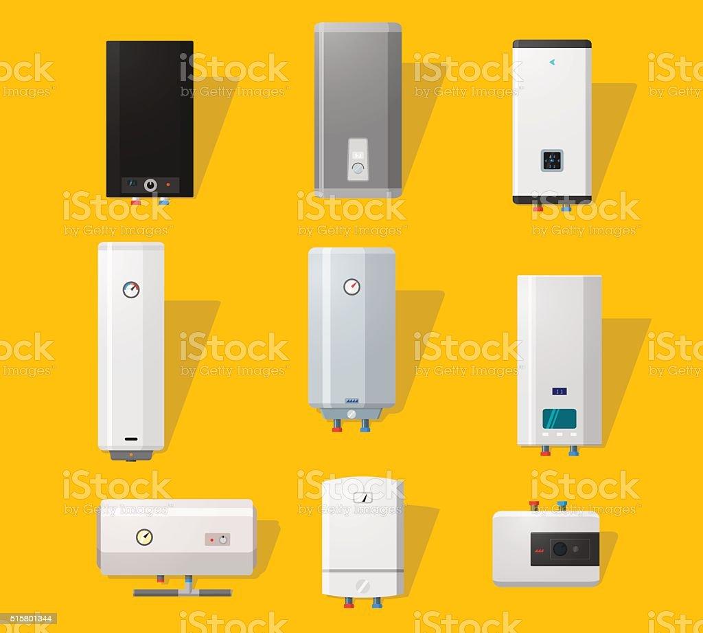 Boiler flat icons vector art illustration