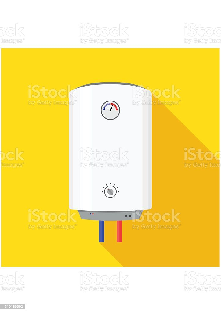 Boiler Icon flat style isolated on yellow background wish shadow. vector art illustration