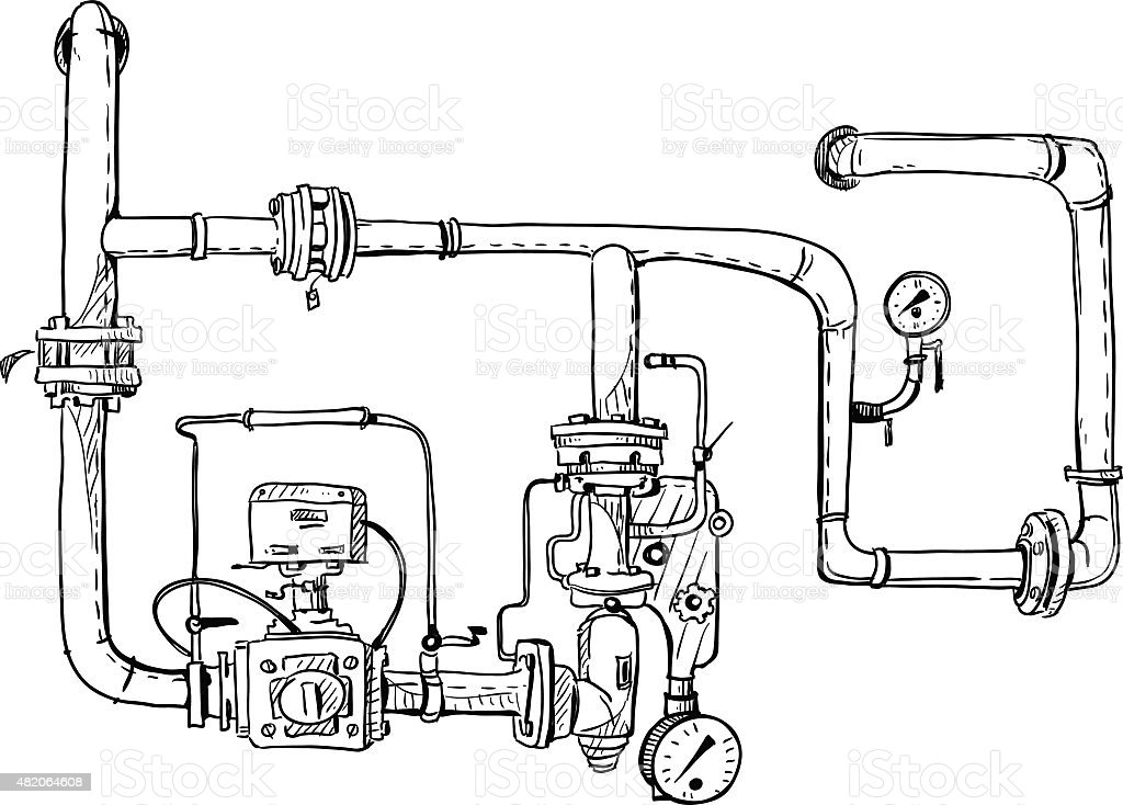 Boiler room. Pipes. Vector sketch. vector art illustration