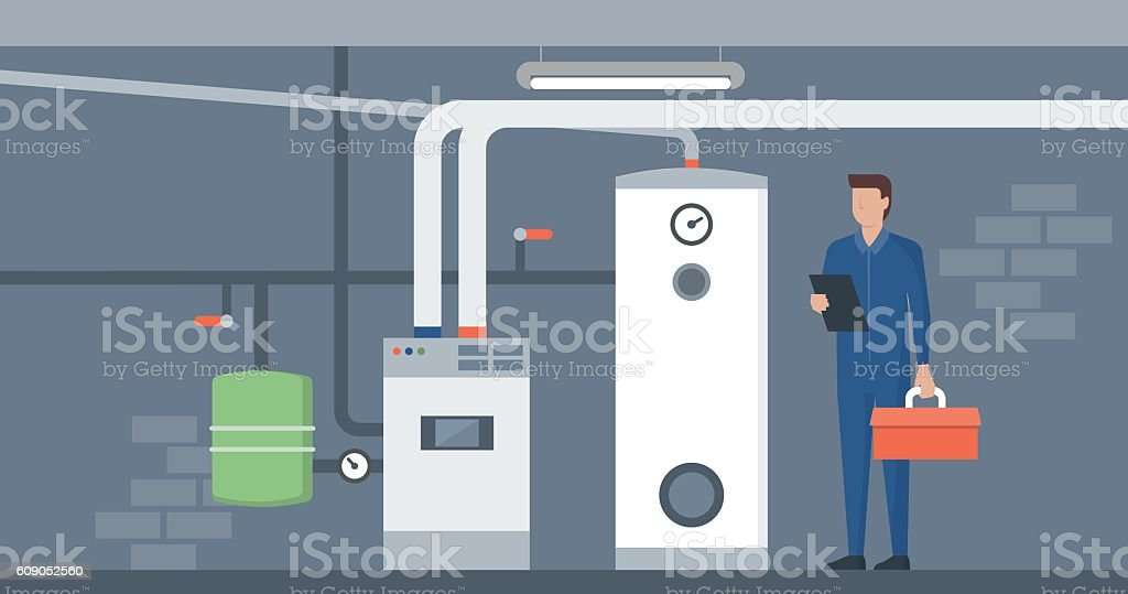 Boiler room vector art illustration