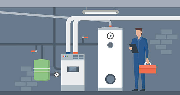 boiler room - plumber stock illustrations, clip art, cartoons, & icons