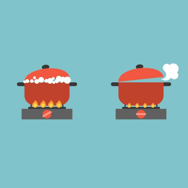 boiling pot boiling pot on stove with bubble and steam, cooking concept flat design vector stove stock illustrations